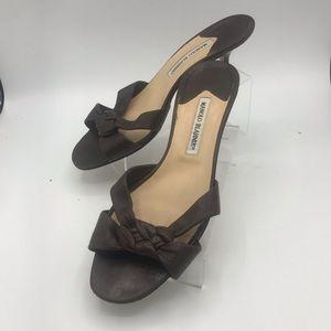 Manolo Blahnik  Vintage Brown slides size 40